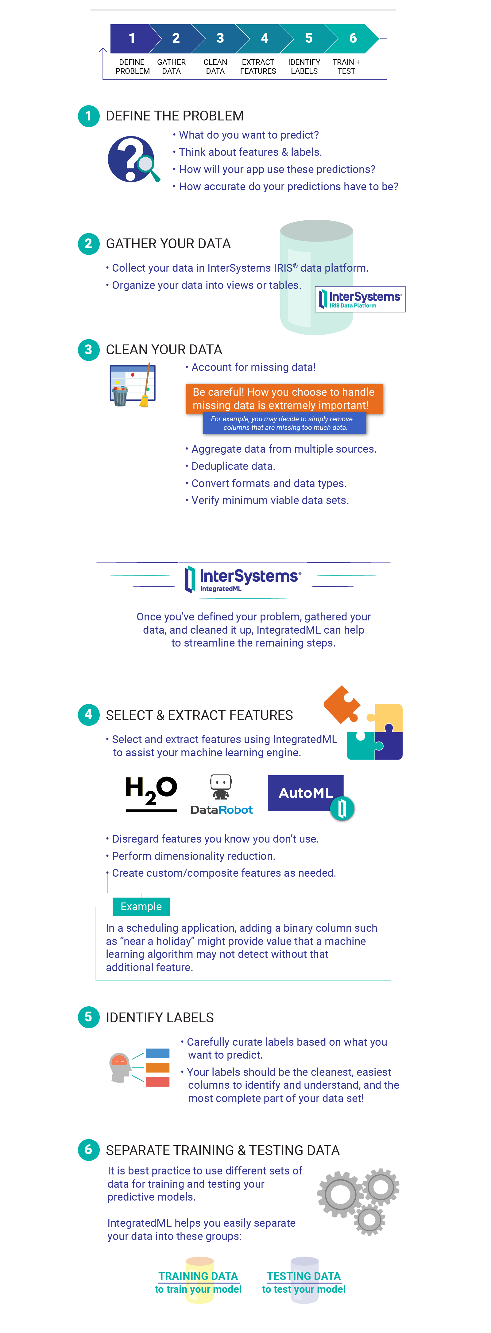 Infographic describing the six steps to prepare your data for machine learning.